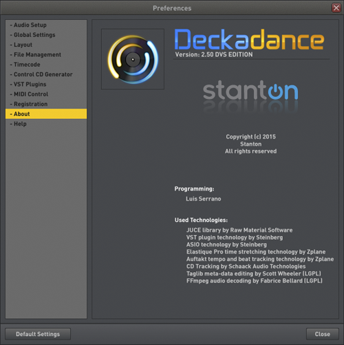 Deckadance Preferences